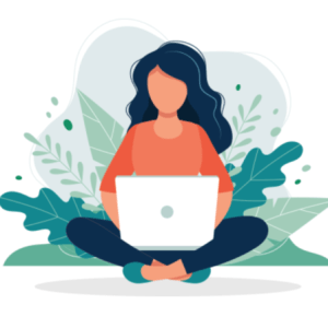 Woman sitting cross legged near some plants while using computer.