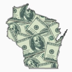 Shape of Wisconsin overlaid with 100-dollar bills.