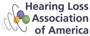 Image of a logo with the text: Hearing Loss Association of America. The logo is three spheres clustered together with a series of rings around the spheres.