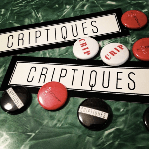 two stickers with black text against a white background that reads 'Criptiques.' Seven buttons in red, black and white varieties. They read either 'Criptiques' or 'Crip' in bold red text against a white background