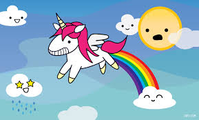 Image of a unicorn farting a rainbow with clouds that have smiley faces and a sun that looks horrified.