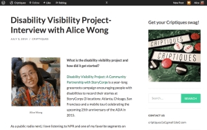 Screen shot from Criptiques blog:  http://criptiques.com/2014/07/03/disability-visibility-project-interview-with-alice-wong/