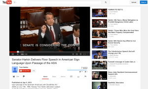 Screen shot of the YouTube clip of Senator Harking using American Sign language at the floor of the Senate on July 13, 1990 about the Americans with Disabilities Act: https://www.youtube.com/watch?v=BomPo6fPOOo