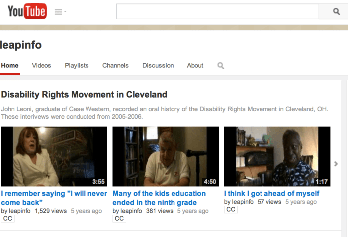 Screen shot from the YouTube page featuring videos about the Disability Rights Movement in Cleveland, OH
