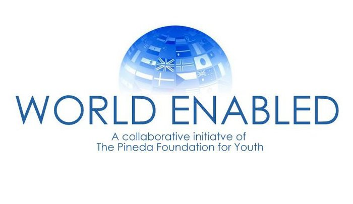 Logo showing a blue globe with flags of different countries superimposed. Below the sphere are the words: WORLD ENABLED: A collaborative initiative of The Pineda Foundation for Youth