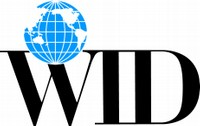 Logo for the World Institute on Disability: The letters 'WID' are capitalized and in black. Above the letter 'W' is an image of a globe.