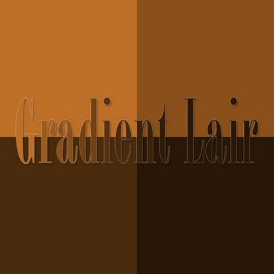A logo that reads: Gradient Liar and the image is a square shape divided into four quadrants with each quadrant a different shade of brown from light to dark