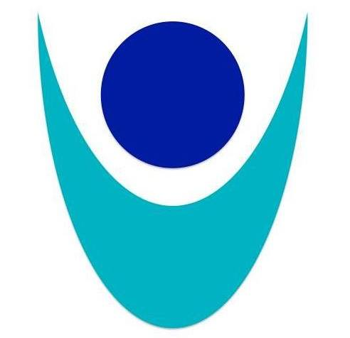 Logo for Shared Abilities. A large blue circle with an aqua blue arc below the circle as if it s a person's arms outstretched