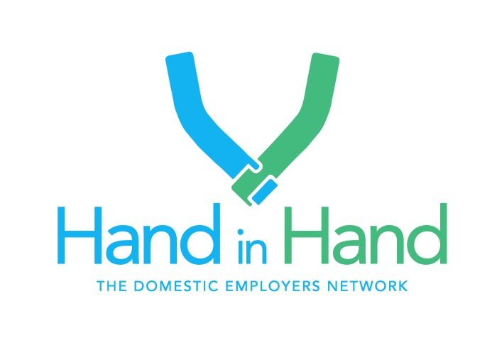 Logo on a blue arm holding a green arm. The words read: Hand in Hand: The Domestic Employers Network