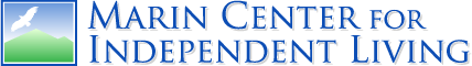 Logo of a white bird against a blue sky and green background. Text says: Marin Center for Independent Living