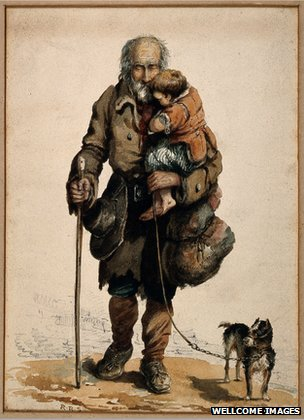 Painting of an older white man holding a child on one arm and a walking cane on the other. A dog with a leash is attached to him as well.