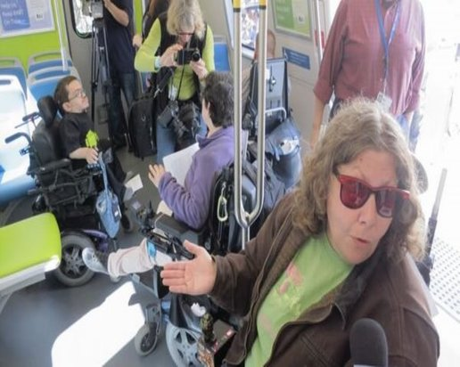Photos of various people in wheelchairs inside the center of a train car.