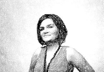 Black and white image of a white woman with dark brown hair.