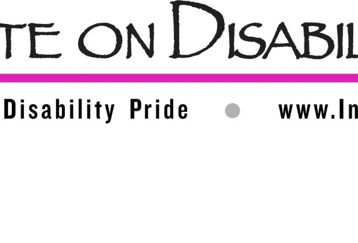 """Logo with a wheelchair icon in magenta pink with a long horizontal line in the ams color. Above the line are the words: """"Institute on Disability Culture"""" below the line says """"Promoting Disability Pride www.InstituteOnDisabilityCulture.org"""""""