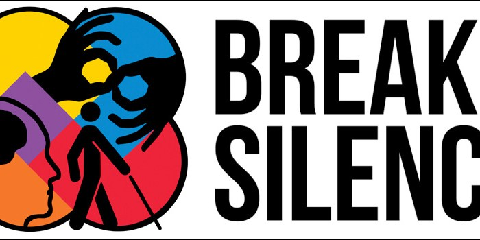 """Logo that reads """"Breaking Silences"""" On the left hand side of the text are numerous intersecting circles in different colors. Each circle has a different image: the male and female symbols, two hands signing in American Sign Language, a stick figure with a cane, the image of a person's head and brain, an figure of a wheelchair user."""
