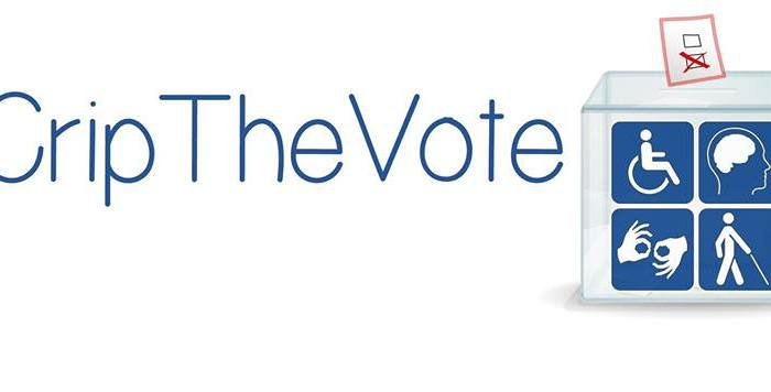Graphic with a white background. In blue text, it reads: #CripTheVote. On the right side is the graphic of a voting box with a marked ballot and the box has 4 quadrants with pictures of a wheelchair, 2 hands signing, a person using a cane and image of a person's brain