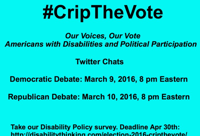 Bright aqua blue background with black text: #CripTheVote Our Voices, Our Vote Americans with Disabilities and Political Participation Twitter Chats Democratic Debate: March 9, 2016, 8 pm Eastern Republican Debate: March 10, 2016 8 pm Eastern Take our disability policy survey. Deadline April 30th: https://www.surveymonkey.com/r/QLWH79V