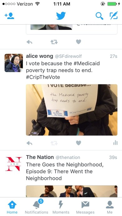 "Screenshot of a Twitter app that's open showing a tweet by Alice Wong, @SFdirewolf Screenshot of a window with text written that says ""I vote because the #Medicaid poverty trap needs to end #CripTheVote"" Including an photo of her holding a sign with the same text."