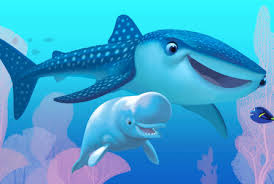 "An animated scene from the Pixar film ""Finding Dory."" A whale shark, beluga whale saying hello underwater to a small blue tang."