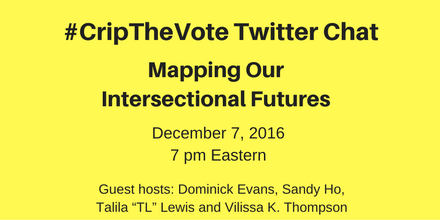 "Image description: graphic with a bright yellow background and black text centered that reads: #CripTheVote Twitter, Chat Mapping Our Intersectional Futures, December 7, 2016, 7 pm Eastern, Guest Hosts: Dominick Evans, Sandy Ho, Talila ""TL"" Lewis and Vilissa K. Thompson"
