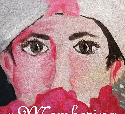 This image is the cover of my book. It features a self-portrait painting I did of myself on my wedding day. I wear a white wedding hat with a pin flower on it, and my face is covered below the nose by a bouquet of red and dark pink flowers. My eyes are emphasized in size and by long, black eyelashes. My name, Ann Millett-Gallant, is printed in black font at the top of the image, and the title of the book, Re-Membering: Putting Mind and Body Back Together Following Traumatic Brain Injury, is printed in white font at the bottom of it.