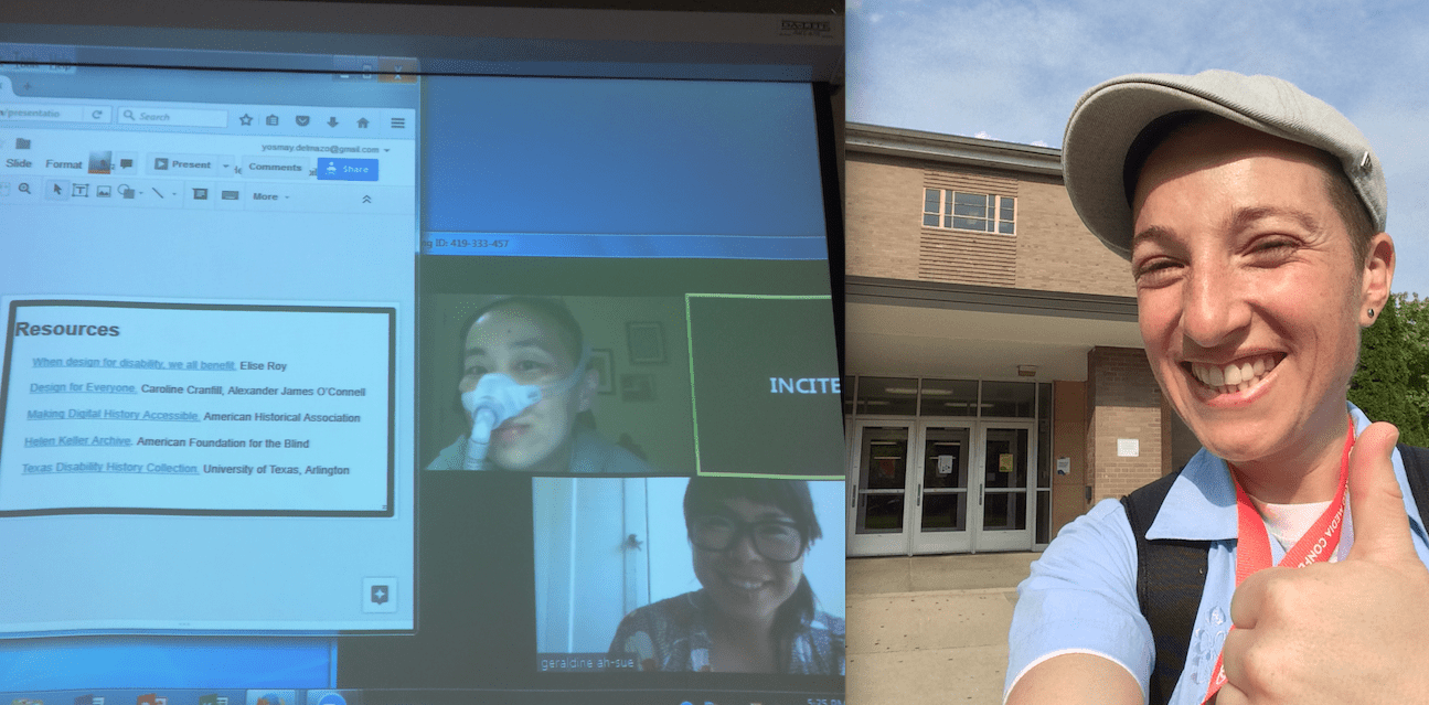 Photo of of two images: on the left is a photo of a projected screen showing two windows open. One has a slide on the left side with a list of resources. On the right side is the Zoom videoconference platform featuring 2 smaller windows featuring Alice Wong, an Asian American woman wearing a BiPap mask over her face with a tube attached in the upper left corner. On the lower right corner is the image of Geraldine Ah-Sue, an Asian American woman with black-rimmed glasses. Both are participating in the presentation remotely. The second image on the right side is an outdoor photo of Yosmay del Mazo, a Latinx transgender person standing outside State Hall, on the Wayne State University campus with his hand in a thumbs-up gesture.