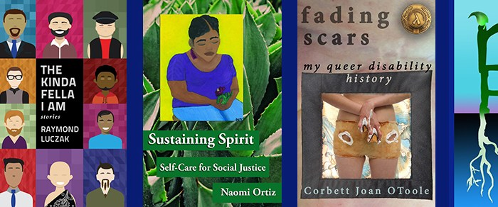"""Banner shows 4 book covers: Troubleshooting by Selene dePackh, Kinda Fella I Am by Raymond Luczak, Sustaining Spirit by Naomi Ortiz, and Fading Scars by Corbett Joan OToole. At the end is the Reclamation Press short logo: a painted letter """"p"""" has roots. The letter """"r"""" is on top of the letter """"p"""" and sprouts a green leaf at the top."""