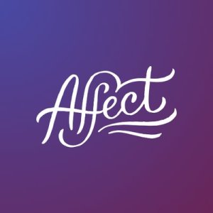 """Graphic with a purple background with white script that reads, """"Affect"""" with 2 wavy lines underlining the word underneath"""