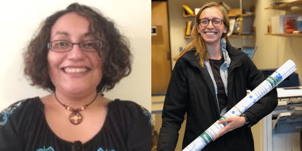 Left: Light brown Puerto Rican woman in her 30s wearing a black top. She is wearing glasses and a brown circular necklace. She is smiling and has curly shoulder-length hair. She is wearing glasses and a brown circular necklace. Right: Gabi smiling and holding a large poster in an office.