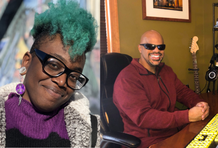 [left] a photo of Bri M, a prince wearing a purple sweater with green hair smirks at the camera. [right] a photo of Thomas Reid, an African American man with a clean shaven head and goatee in shades smiles at the camera while seated at a desk. The desk holds a laptop and other equipment including an audio mixer and microphone. A framed picture of the original World trade Center hangs on the wall above a black Fender electric guitar.