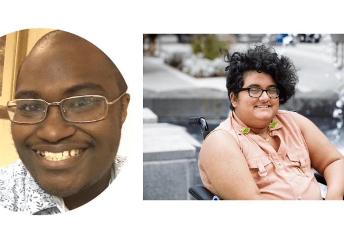 Graphic with white background and 2 photos. [Left] Photo of Finn Gardiner, a black man wearing a button-down shirt and smiling. [Right] Photo of Noor Pervez. He sits in a wheelchair in front of a fountain. He has a curly black undercut and medium golden tan skin. He wears thick glasses, and a sleeveless pink shirt with a set of budgie collar pins. Photo credit: Les Talusan photography