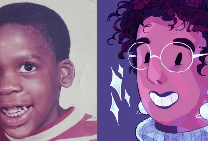 Two photos [left]  A young Black boy, Leroy Moore, with short black hair smiling at the camera. He is wearing a red and white striped shirt. [Right] An illustrated headshot of Ashanti Fortson, an Afro-Latinx person with light brown skin and black curly hair. They're wearing light blue planet-shaped earrings, a periwinkle knit turtleneck, and large light blue glasses. They're smiling at the camera, and some sparkles float next to them.