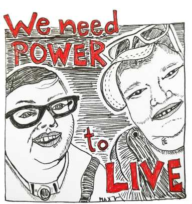 """drawing byMax Airborneof themself with#DisabilityJusticeactivistStacey Park, smiling & happy after getting ice cream. Red words say """"we need power to live."""""""