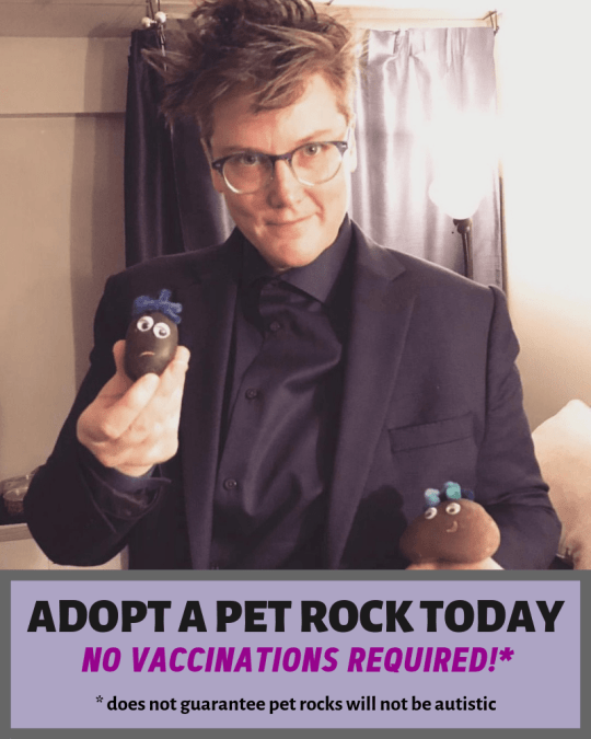 "Image is a photo of Hannah Gadsby in a dark suit, holding some of her handmade pet rocks. A text box at the bottom says, ""ADOPT A PET ROCK TODAY / No vaccinations required!* / *does not guarantee pet rocks will not be autistic"""