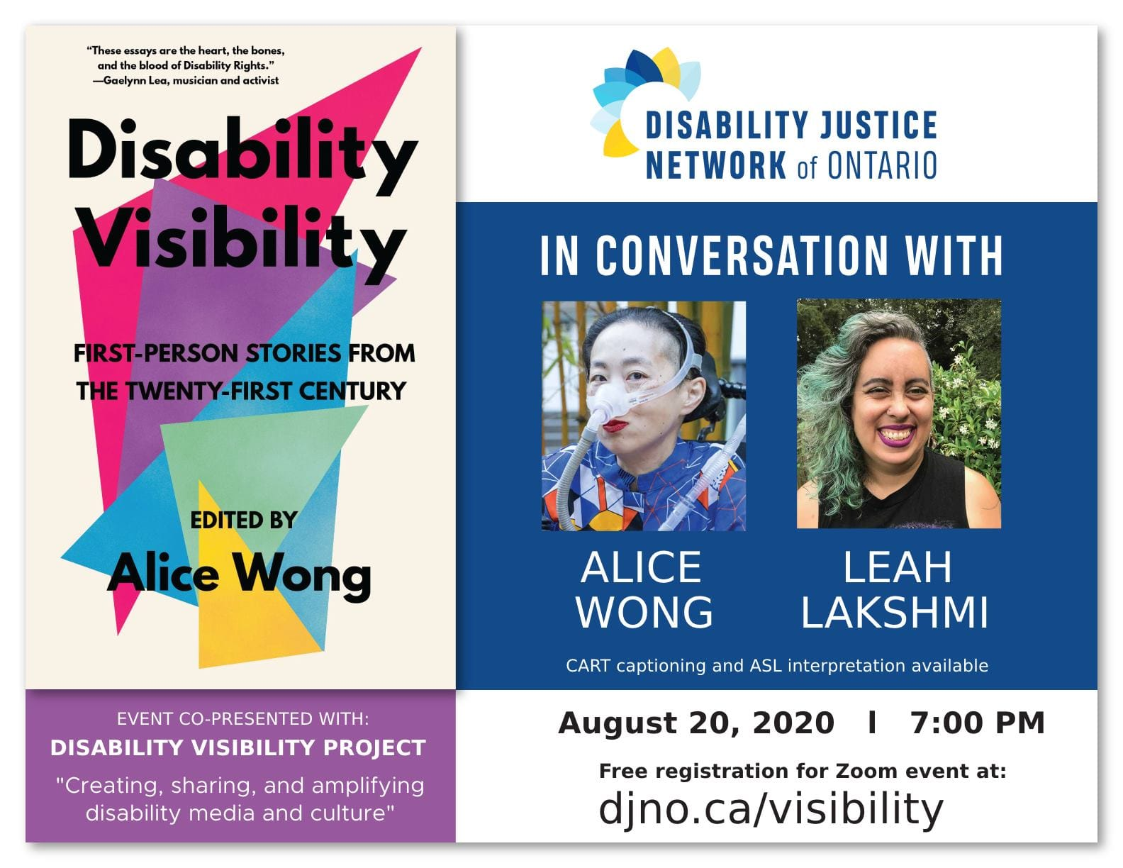 On the left is a book titled 'Disability Visibility: First Person Stories from the 21st Century Edited by Alice Wong' the book cover has overlapping triangles in a variety of bright colors with black text overlaying them and an off-white background. Book cover by Madeline Partner. The image is the logo of the Disability Justice Network of Ontario (DJNO), which has the words Disability Justice Network of Ontario written in dark blue. The words Disability Justice Network are in bold, and the words of Ontario are not. Small flower petals are positioned like a crown over the words Disability and Network, in colours yellow, light blue, and dark blue.