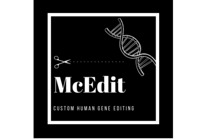 Slide showing a black square graphic with text in the lower half that reads: McEDIT, Custom Gene Editing. Above the text is a scissor with short lines representing stitch marks. On the upper right corner are scissors arranged diagonally