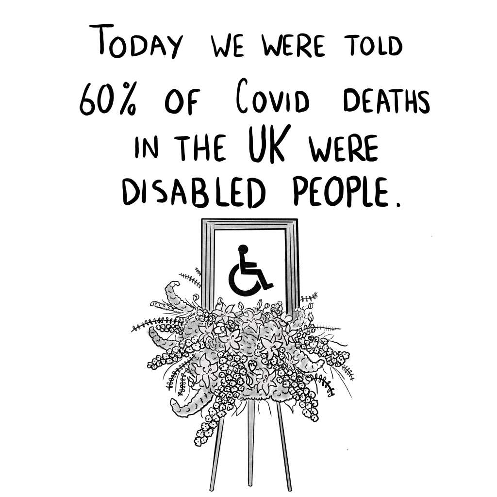 """Panel 2: """"Today we were told that 60% of Covid deaths in the UK were disabled people,"""" This is accompanied by a large, floral, memorial portrait for the international accessibility symbol."""