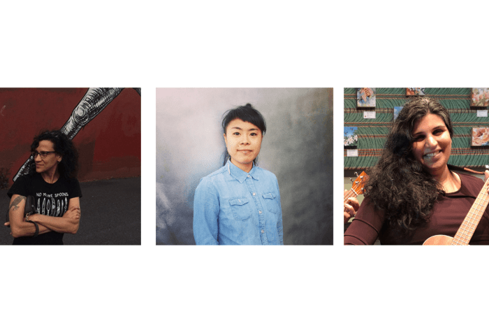 Graphic with a white background [left] Cheryl Green, a white woman with olive skin and long, dark brown, curly hair stands outside by a red wall that vanishes behind her in the distance. [middle] Portrait photo of Geraldine Ah-Sue, an Asian American woman looking directly in the camera with a slight half smile. She is wearing a light blue button-up shirt and a long earring on her right ear. [right] A photo of Sarika Mehta, a brown woman with long, curly, black hair, stands smiling while playing a ukulele. She is visibly pregnant, wearing a dark purple dress. The background shows a green wall with small paintings of flowers hanging.