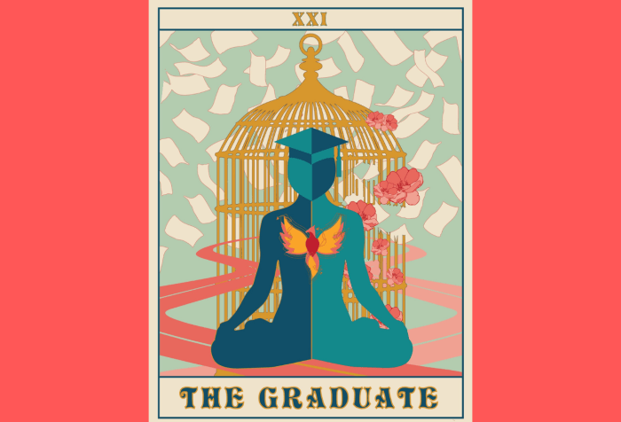 Graphic with a coral orange background featuring a tarot card of The Graduate illustrated by Kat Woodward. The Graduate is at once grounded in the earth and floating in space, surrounded by pieces of paper scattered to the wind. In the center is a figure with a graduation cap perched carefully atop their head and a burgeoning phoenix at their chest. Behind the Graduate are two winding paths and a gilded, golden cage with flowers blooming from its partially broken bars.