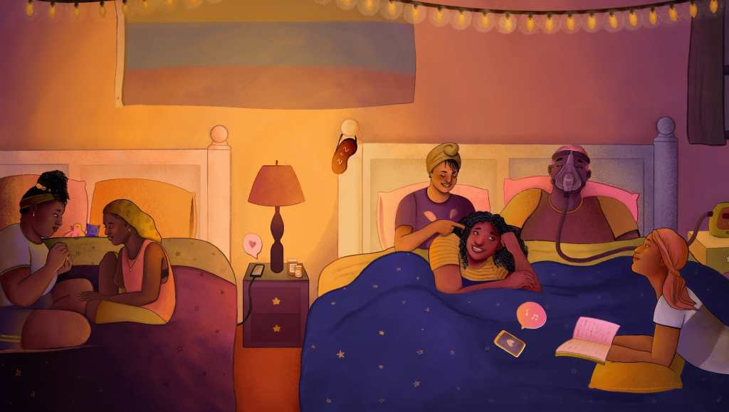A group of disabled queer Black folks talk and laugh at a sleepover, relaxing across two large beds. Everyone is dressed in colorful t-shirts and wearing a variety of sleep scarves, bonnets, and durags. On the left, two friends sit on one bed and paint each other's nails. On the right, four people lounge on a bed: one person braids another's hair while the third friend wearing a C-PAP mask laughs, and the fourth person looks up from their book. In the center, a bedside lamp illuminates the room in warm light while pill bottles adorn an end table. Credit: Jonathan Soren Davidson for Disabled And Here. https://affecttheverb.com/disabledandhere/