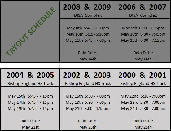 2017-2018 Evaluations and Try-Out Dates (UPDATED)