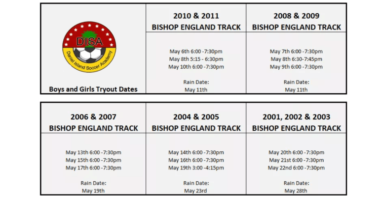 2019-2020 Try-Out/Evaluation Schedule