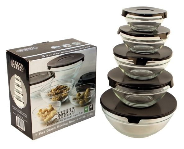 10 Pcs Glass Lunch Bowls Healthy Food Storage Containers Set With Black Lids 1