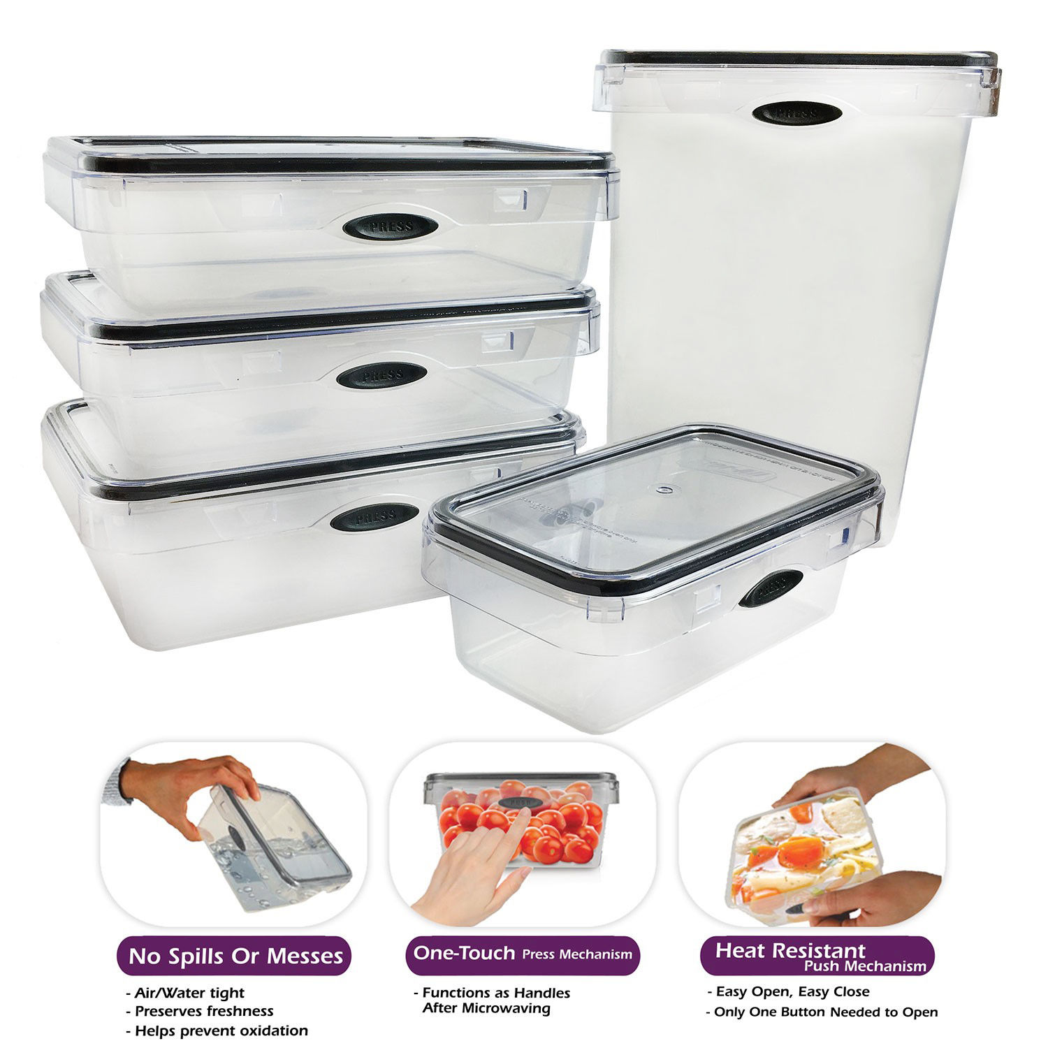 10 Piece Food Storage Set Rectangular Plastic Container, Pantry Snack Canister 1