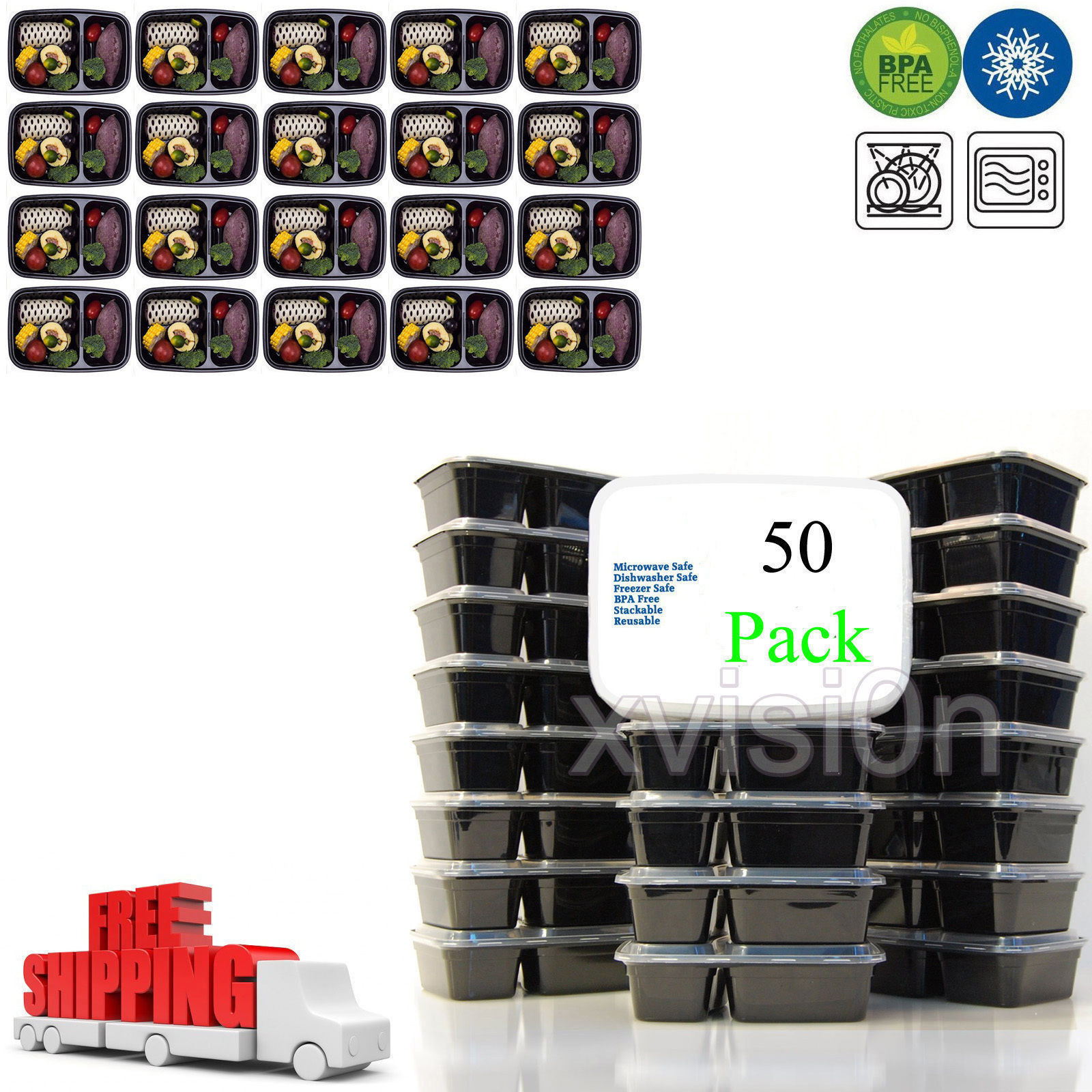 50 Meal Prep Containers Food Storage 2 Compartment Plastic Reusable Microwavable 1