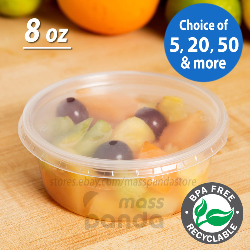 8oz Round Deli Food/Soup Storage Containers w/ Lids Microwavable Clear Plastic 1