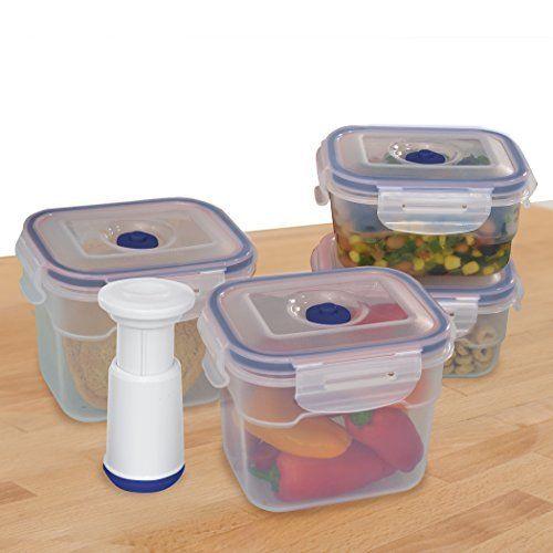 9-pcs Vacuum Food Storage Containers, Rectangular,Blue 1