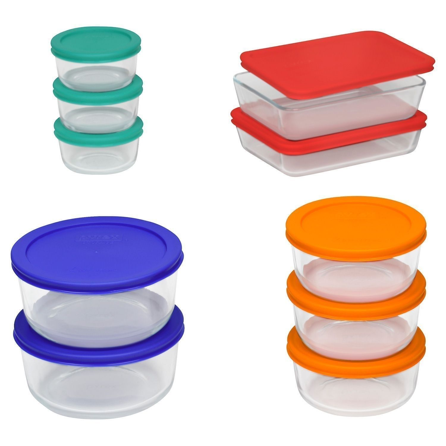 Pyrex 20 pc Glass Food Storage Set Bakeware Bowls with Lids Serving NEW FREE SHP 1