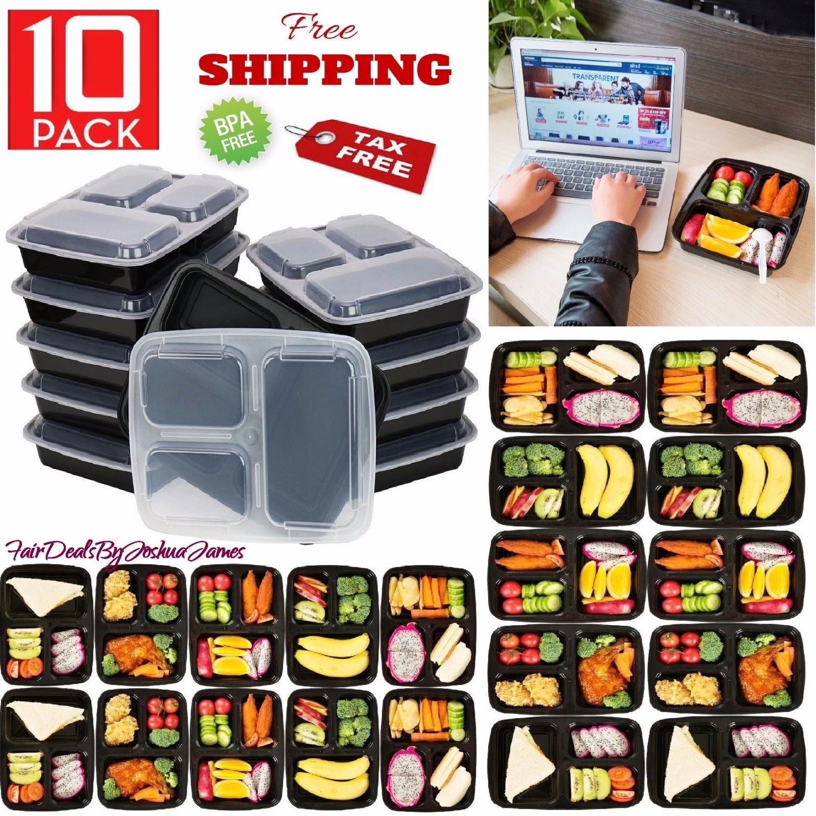 10 Meal Prep Containers 3 Compartment Plastic Food Storage Microwavable Reusable 1