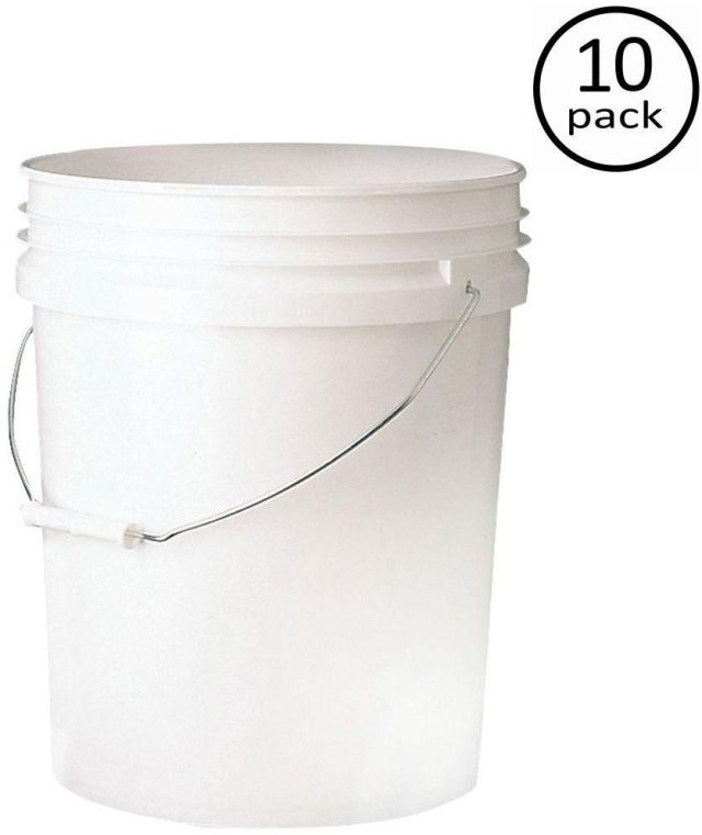 Food Storage Container BPA Free 10-Pack 5 Gallon Nesting .090 Inches Buckets 8